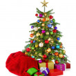 Colorful Christmas tree with Santa's bag and gifts — Stock Photo