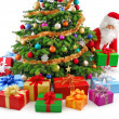 Stock Photo: Santpreparing gifts