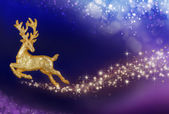 Christmas magic with golden reindeer — Stock Photo