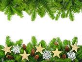 Fresh fir twigs as a Christmas frame — ストック写真