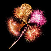 Fireworks in clover leaf shape — Stock Photo