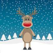 Rudolph reindeer red nose — Stock Vector