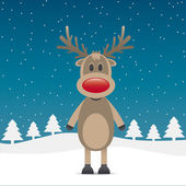 Rudolph reindeer with red nose — Stock Vector