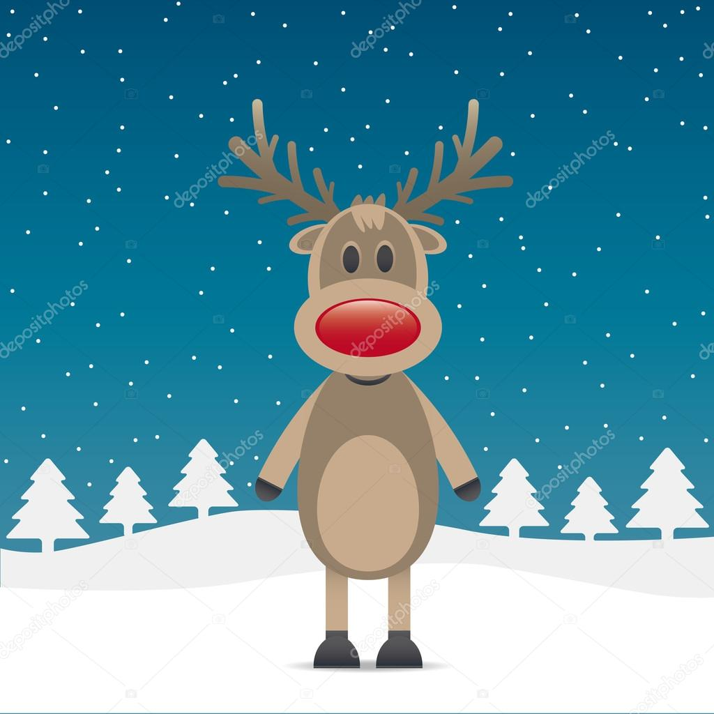 Rudolph reindeer red nose snow falls night — Stock Vector #12650853
