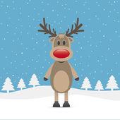 Rudolph reindeer red nose — Stock Vector