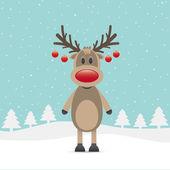 Rudolph red nose christmas ball — Stock Vector