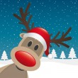 Rudolph reindeer red nose and hat — Stockvectorbeeld