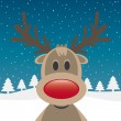 Stock Vector: Rudolph reindeer red nose