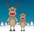 Two rudolph reindeer red nose — Stock Vector