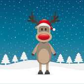 Rudolph reindeer red nose and hat — Stock Vector