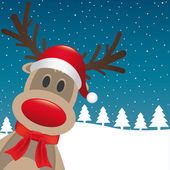 Rudolph reindeer red nose and hat — Stock Photo