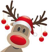 Reindeer red nose christmas balls — Stock Photo