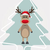 Reindeer red nose hat pinetree — Stock Photo
