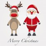 Reindeer red nose next santa claus — Stock Photo