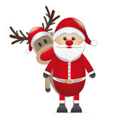 Reindeer red nose behind santa claus — Stock Photo