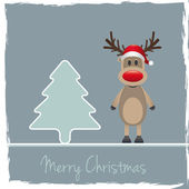 Reindeer red nose pinetree — Stock Photo