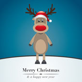 Reindeer red nose and hat — Stock Photo