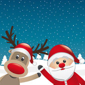 Reindeer and santa claus wave — Stock Photo