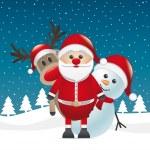 Reindeer red nose santa claus snowman — Stock Photo