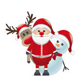 Reindeer red nose santa claus snowman — Stock Photo