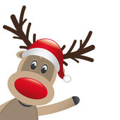 Rudolph reindeer red nose wave — 图库照片