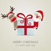 Reindeer santa claus christmas gift box — Stock Photo
