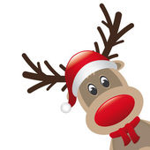 Reindeer red nose santa claus hat — 图库照片