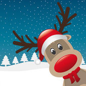 Reindeer red nose santa claus hat — Stock Photo