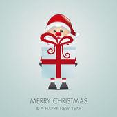Santa hold gift box — Stock Photo