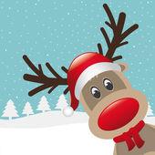 驯鹿红鼻子和帽子围巾 — 图库照片