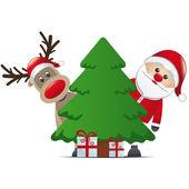 Reindeer santa claus christmas tree gift — Stock Vector