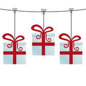 Red gift boxes hanging on a twine — Stock Vector