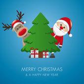 Rentier weihnachtsmann weihnachtsbaum geschenk — Stockvektor