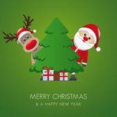 Reindeer santa claus christmas gift box — Stock Vector