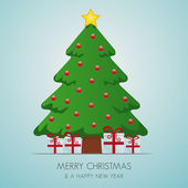 Christmas tree gift box and gold star — Stock Vector