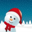 Snowman with scarf and santa claus hat blue background — Stock Vector