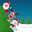 Santa reindeer and snowman behind christmas tree — Stockvectorbeeld