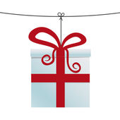 White red gift box hanging on twine — Stock Vector