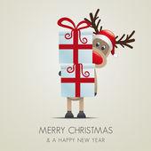 赤いリボンとトナカイ クリスマス ギフト ボックス — ストックベクタ