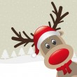 Reindeer red nose and scarf — Stock Vector