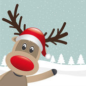 Reindeer red nose wave — Vector de stock