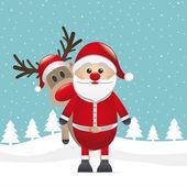 Rudolph reindeer behind santa claus — Stock Vector