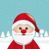 Santa clause figure look winter night landscape — Stock Vector