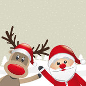Reindeer and santa claus wave — Stock Vector