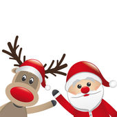 Reindeer and santa claus wave — Stock Vector