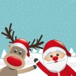 Reindeer red nose and santa claus wave — Stock Vector