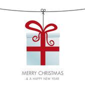 Christmas gift box hanging on a twine — Stock Vector