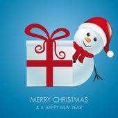 Snowman with santa hat behind gift box — Stock Vector