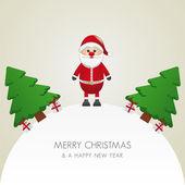 Santa claus christmas tree and gift world — Stock Vector