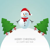 Snowman hat christmas tree and gift world — Stock Vector